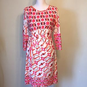 Donna Morgan orange and pink dress, size 8
